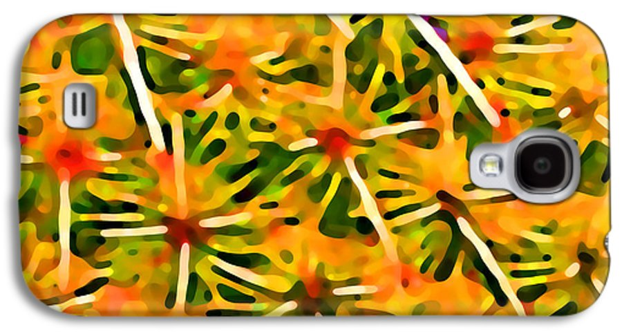 Abstract Galaxy S4 Case featuring the painting Cactus Pattern 2 Yellow by Amy Vangsgard