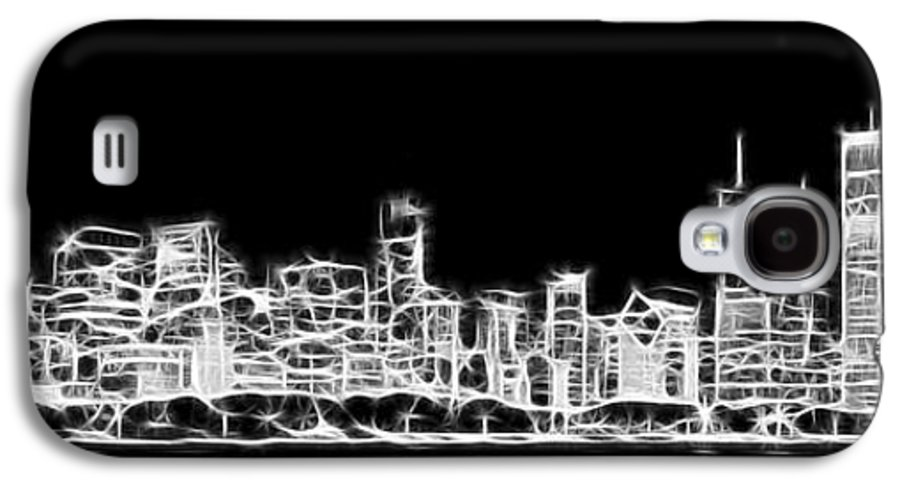 3scape Photos Galaxy S4 Case featuring the photograph Chicago Skyline Fractal Black And White by Adam Romanowicz