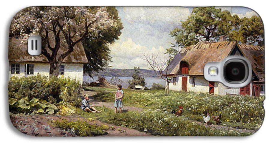1930s Galaxy S4 Case featuring the painting Children In A Farmyard by Peder Monsted