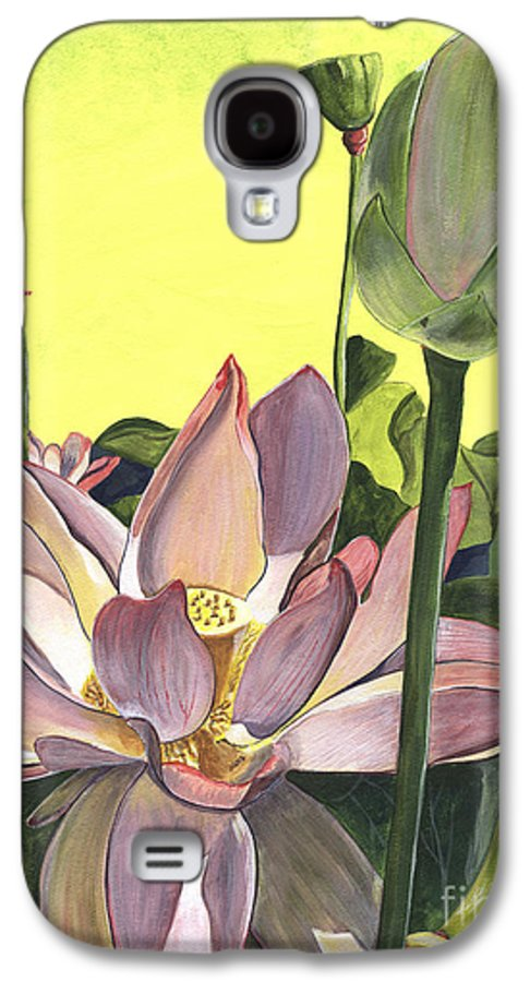 Floral Galaxy S4 Case featuring the painting Citron Lotus 2 by Debbie DeWitt