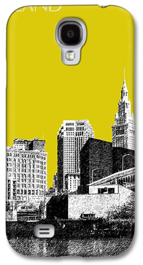 Architecture Galaxy S4 Case featuring the digital art Cleveland Skyline 3 - Mustard by DB Artist