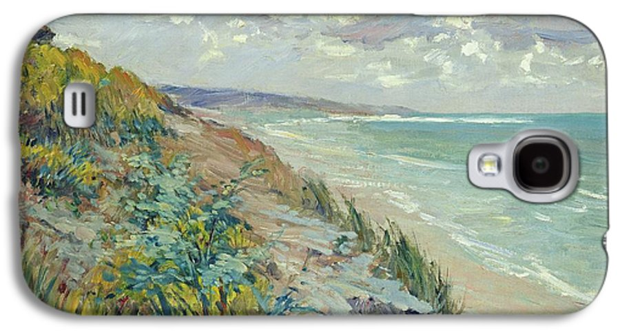 Beach Galaxy S4 Case featuring the painting Cliffs By The Sea At Trouville by Gustave Caillebotte