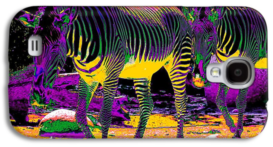 Zebra Galaxy S4 Case featuring the photograph Colourful Zebras by Aidan Moran