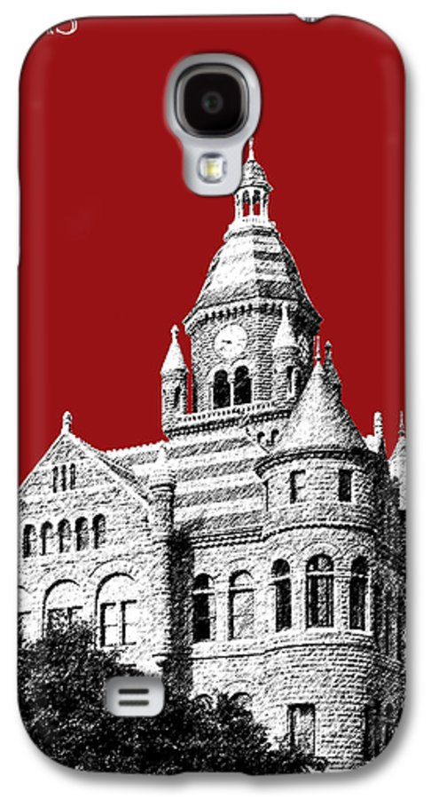 Architecture Galaxy S4 Case featuring the digital art Dallas Skyline Old Red Courthouse - Dark Red by DB Artist