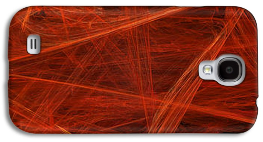 Abstract Galaxy S4 Case featuring the digital art Dancing Flames 1 H - Panorama - Abstract - Fractal Art by Andee Design