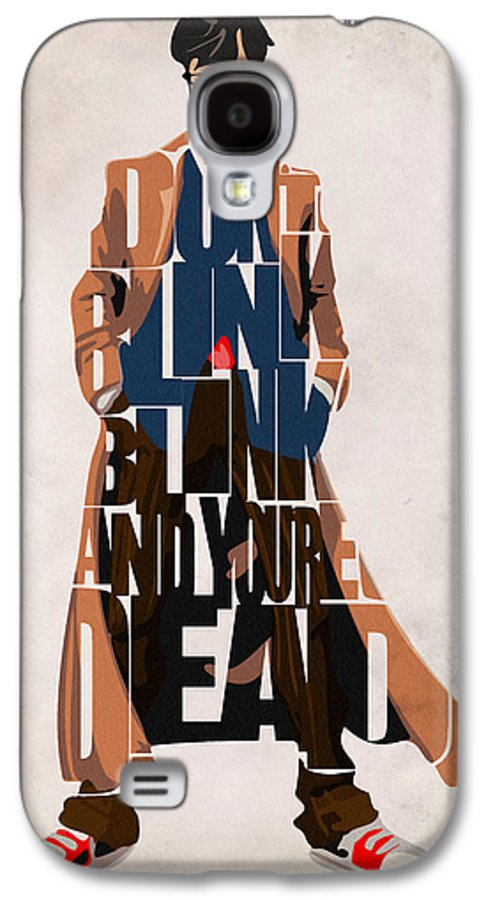 Doctor Who Galaxy S4 Case featuring the painting Doctor Who Inspired Tenth Doctor's Typographic Artwork by Ayse Deniz