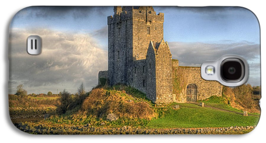 Ancient Galaxy S4 Case featuring the photograph Dunguaire Castle With Dramatic Sky Kinvara Galway Ireland by Juli Scalzi