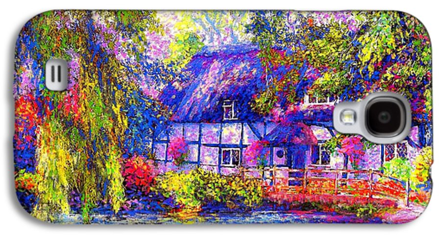 Cottage Galaxy S4 Case featuring the painting English Cottage by Jane Small