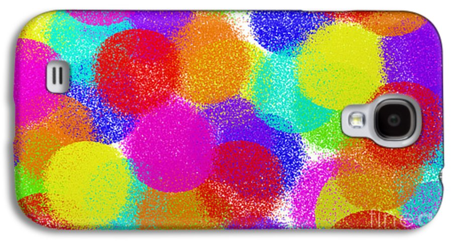 Abstract Galaxy S4 Case featuring the digital art Fuzzy Polka Dots by Andee Design