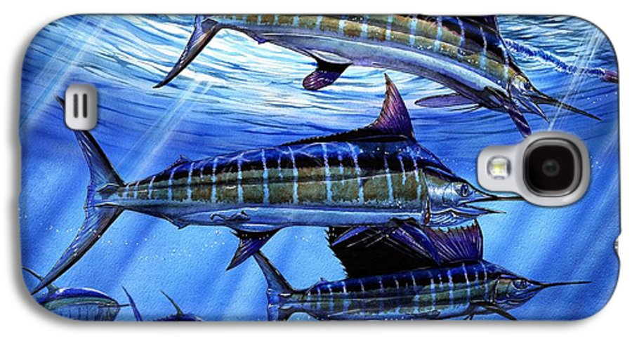 Blue Mrlin Galaxy S4 Case featuring the painting Grand Slam Lure And Tuna by Terry Fox
