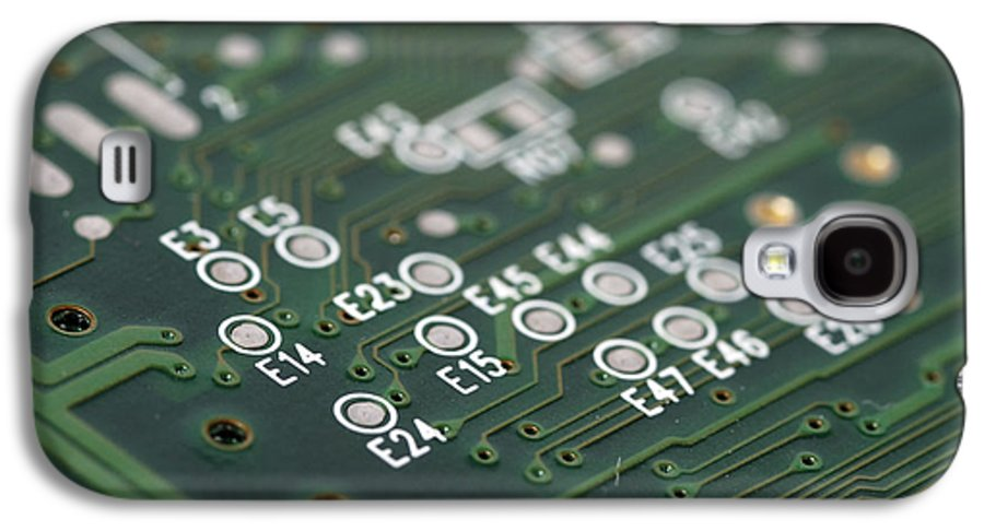 Board Galaxy S4 Case featuring the photograph Green Printed Circuit Board Closeup by Matthias Hauser