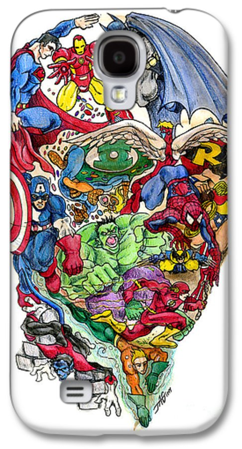 Surreal Galaxy S4 Case featuring the drawing Heroic Mind by John Ashton Golden