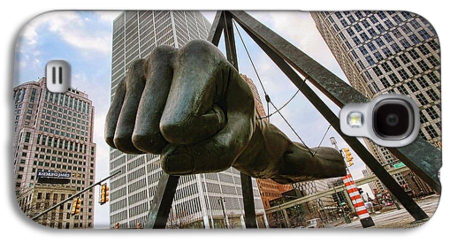Joe Galaxy S4 Case featuring the photograph In Your Face - Joe Louis Fist Statue - Detroit Michigan by Gordon Dean II