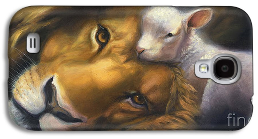 Lion And Lamb Galaxy S4 Case featuring the painting Isaiah by Charice Cooper