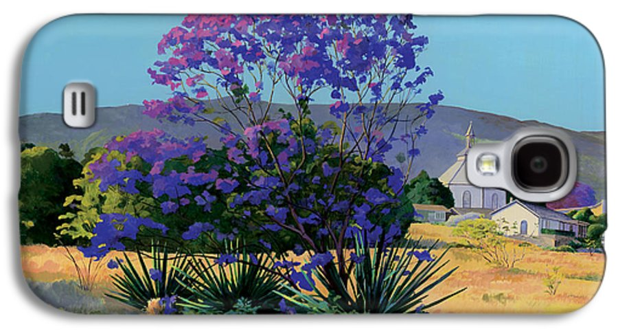 Acrylics Galaxy S4 Case featuring the painting Jacaranda Holy Ghost Church In Kula Maui Hawaii by Don Jusko