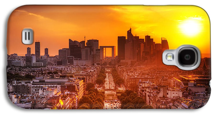 Paris Galaxy S4 Case featuring the photograph La Defense And Champs Elysees At Sunset by Michal Bednarek