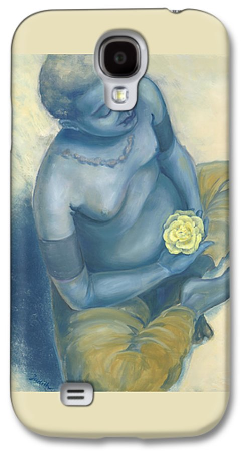 Meditation With Flower Galaxy S4 Case featuring the painting Meditation With Flower by Judith Grzimek
