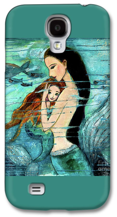 Mermaid Art Galaxy S4 Case featuring the painting Mermaid Mother And Child by Shijun Munns