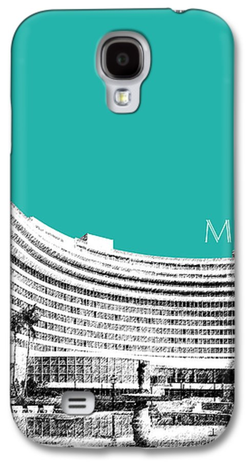 Architecture Galaxy S4 Case featuring the digital art Miami Skyline Fontainebleau Hotel - Teal by DB Artist