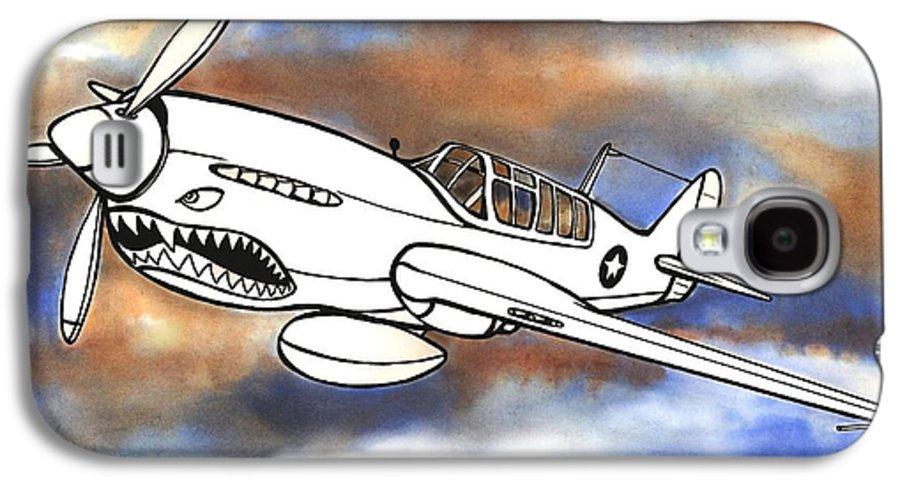 Warhawk Galaxy S4 Case featuring the mixed media P-40 Warhawk 1 by Scott Nelson