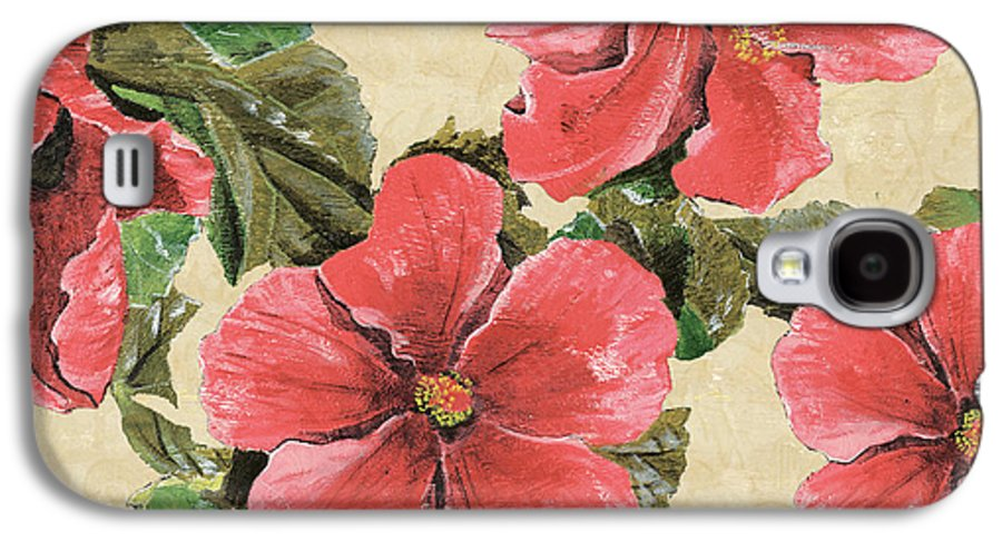 Floral Galaxy S4 Case featuring the painting Pink Hibiscus by Debbie DeWitt