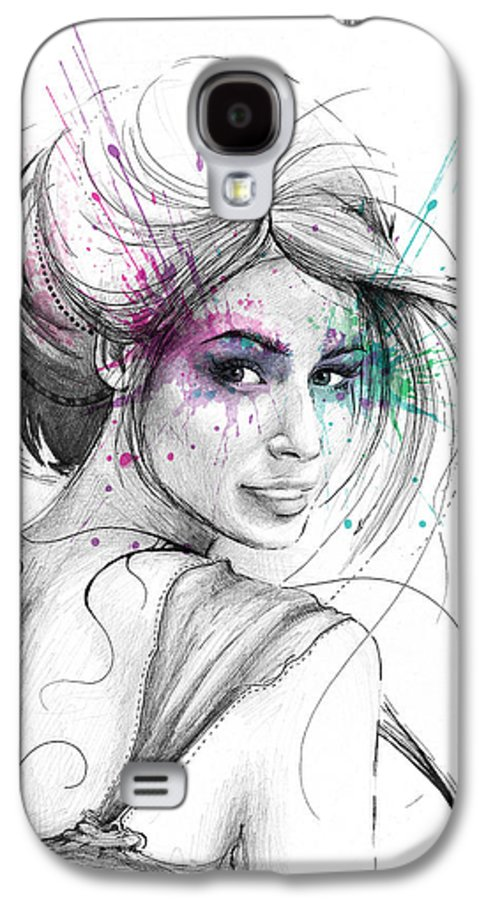 Butterflies Galaxy S4 Case featuring the drawing Queen Of Butterflies by Olga Shvartsur