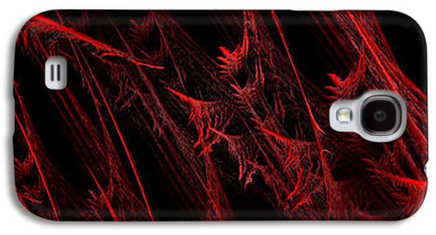 Abstract Galaxy S4 Case featuring the digital art Rhapsody In Red H - Panorama - Abstract - Fractal Art by Andee Design