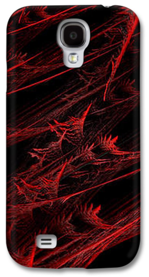 Abstract Galaxy S4 Case featuring the digital art Rhapsody In Red V - Panorama - Abstract - Fractal Art by Andee Design