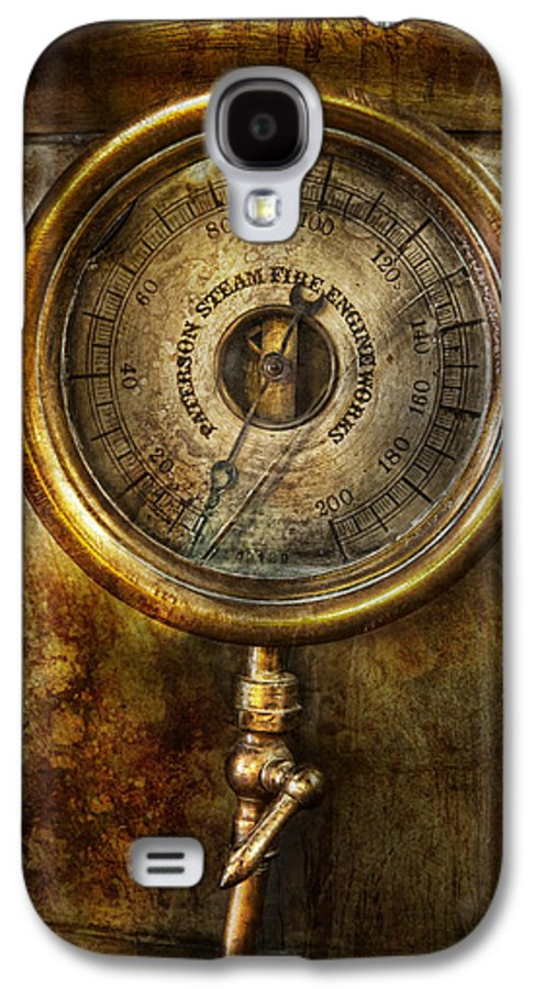 Hdr Galaxy S4 Case featuring the photograph Steampunk - The Pressure Gauge by Mike Savad