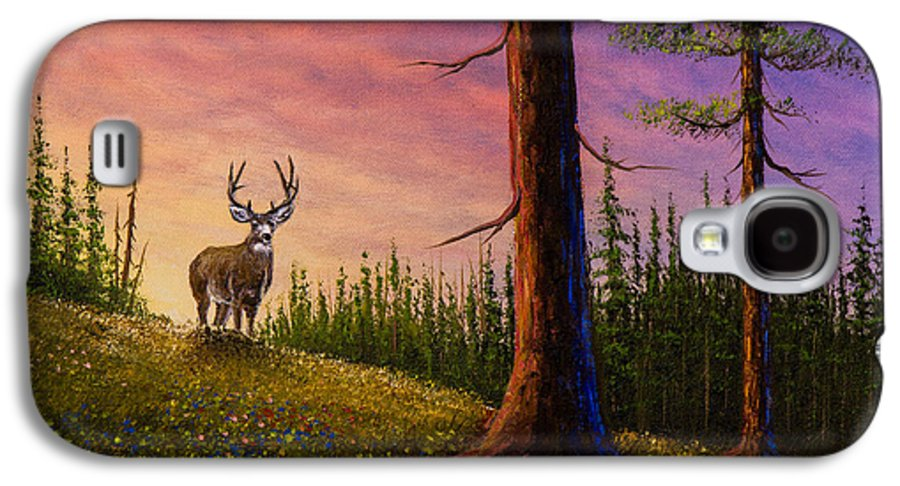 Landscape Galaxy S4 Case featuring the painting Sunrise Buck by C Steele