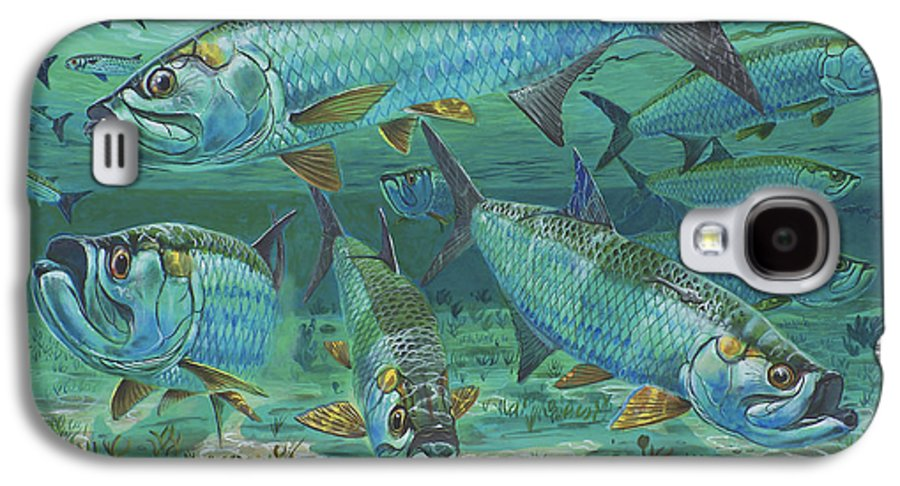 Tarpon Galaxy S4 Case featuring the painting Tarpon Rolling In0025 by Carey Chen