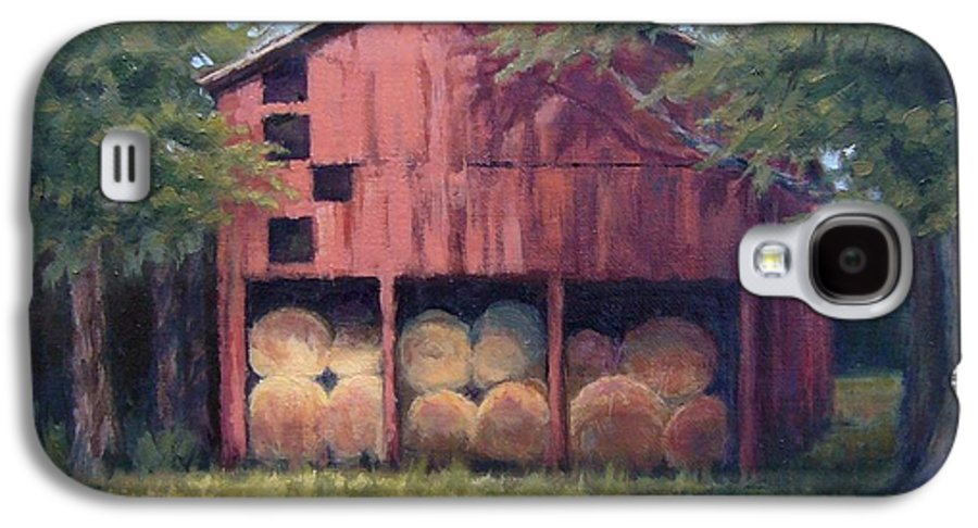 Barn Galaxy S4 Case featuring the painting Tennessee Barn With Hay Bales by Janet King