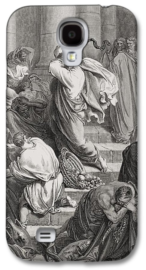Jesus Galaxy S4 Case featuring the painting The Buyers And Sellers Driven Out Of The Temple by Gustave Dore