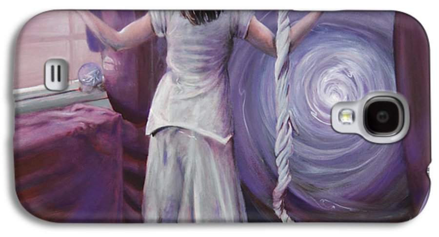 Shelley Irish Galaxy S4 Case featuring the painting The Devotee by Shelley Irish