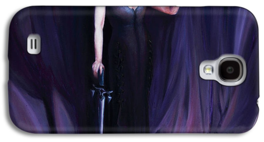 Shelley Irish Galaxy S4 Case featuring the painting The Heretic by Shelley Irish