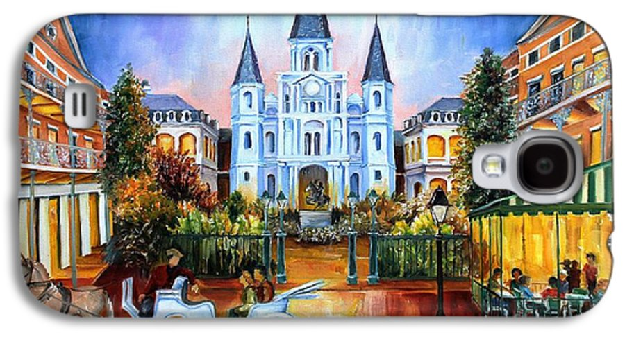 New Orleans Galaxy S4 Case featuring the painting The Hours On Jackson Square by Diane Millsap