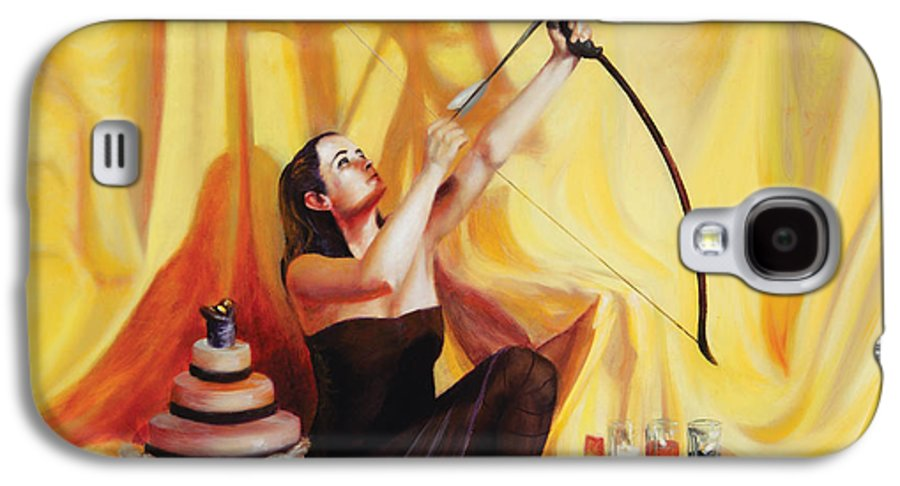 Shelley Irish Galaxy S4 Case featuring the painting The Markswoman by Shelley Irish