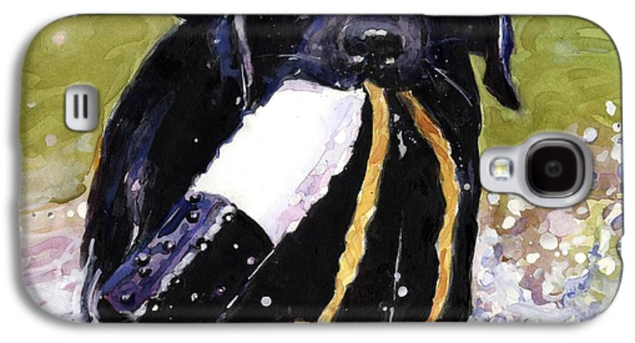 Black Lab Puppy Galaxy S4 Case featuring the painting The Ropes by Molly Poole