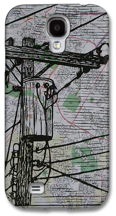 Power Galaxy S4 Case featuring the drawing Transformer On Map by William Cauthern