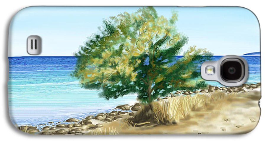 Tree Galaxy S4 Case featuring the painting Tree On The Beach by Veronica Minozzi