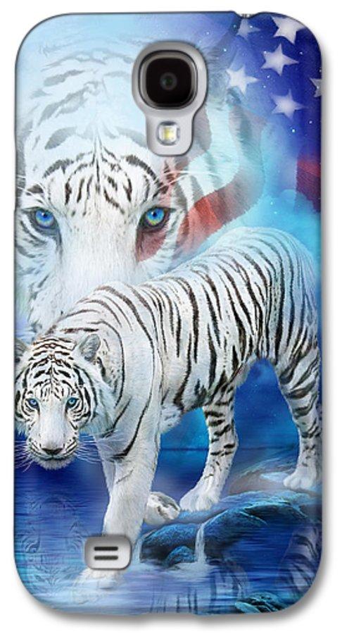 Carol Cavalaris Galaxy S4 Case featuring the mixed media White Tiger Moon - Patriotic by Carol Cavalaris