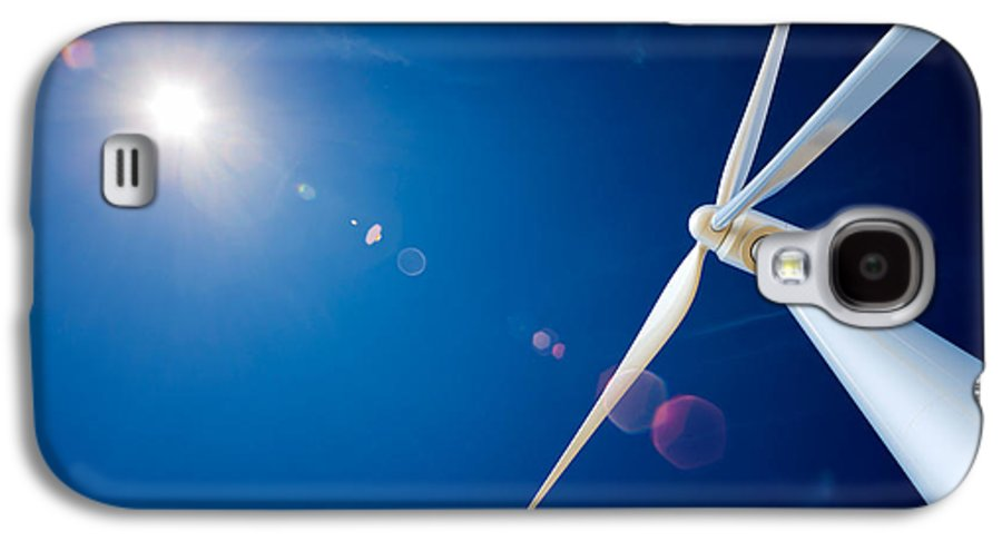 Wind Galaxy S4 Case featuring the photograph Wind Turbine And Sun by Johan Swanepoel