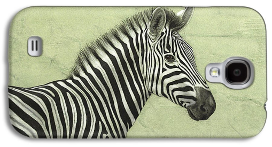 Zebra Galaxy S4 Case featuring the painting Zebra by James W Johnson