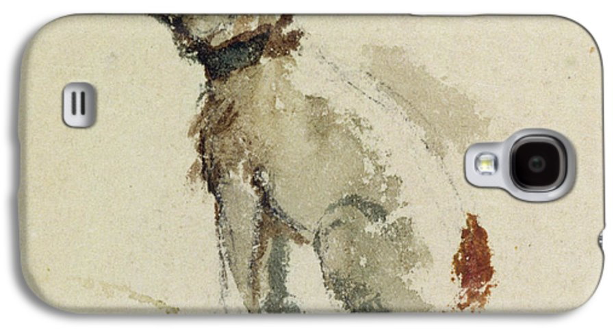 Terrier Galaxy S4 Case featuring the painting A Terrier - Sitting Facing Left by Peter de Wint