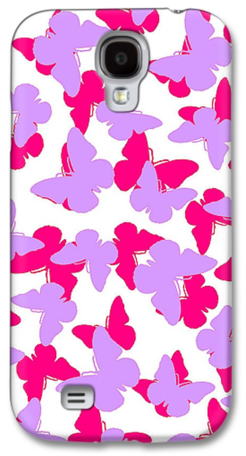 Butterfly Galaxy S4 Case featuring the digital art Layered Butterflies by Louisa Knight