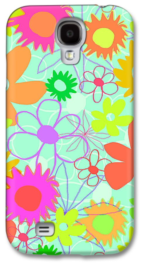 Louisa Galaxy S4 Case featuring the digital art Mixed Flowers by Louisa Knight