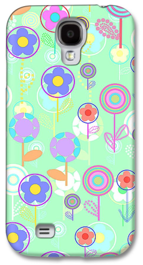 Louisa Galaxy S4 Case featuring the digital art Overlayer Flowers by Louisa Knight