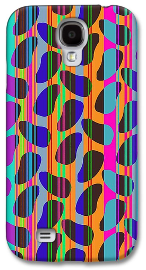 Stripe Beans (digital) By Louisa Knight (contemporary Artist) Galaxy S4 Case featuring the digital art Stripe Beans by Louisa Knight