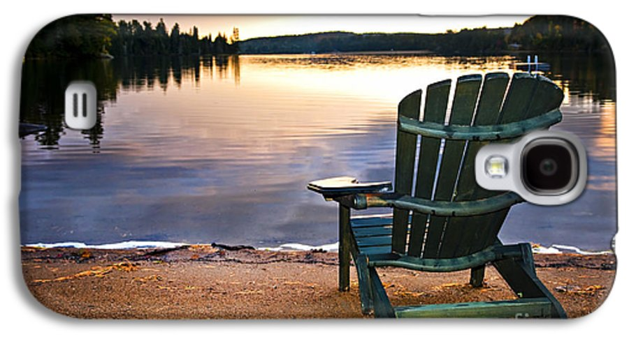 Lake Galaxy S4 Case featuring the photograph Wooden Chair At Sunset On Beach by Elena Elisseeva