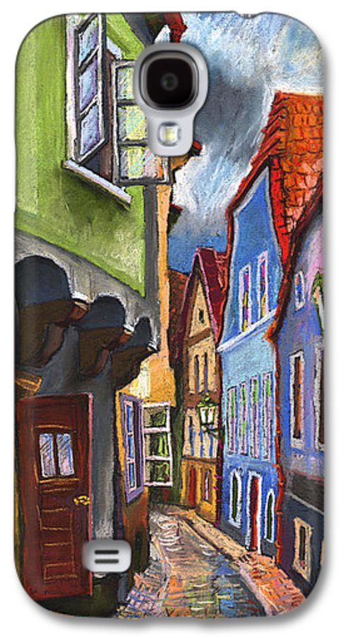 Pastel Chesky Krumlov Old Street Architectur Galaxy S4 Case featuring the painting Cesky Krumlov Old Street 1 by Yuriy Shevchuk